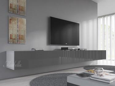 TV-Meubel Flame - Grijs - Wit - 300 cm