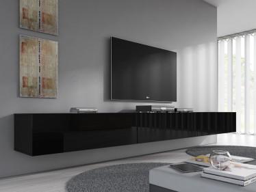 TV-Meubel Flame  - Zwart - 300 cm