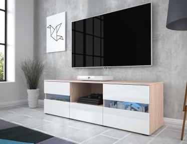 TV-Meubel Gody - Licht eiken - Wit - 140 cm - ACTIE