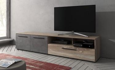 TV-Meubel Maris - Betonlook - Licht eiken - 200 cm