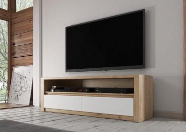 TV-Meubel Poseidon - Eiken - Wit - 130 cm - ACTIE