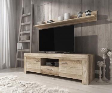 TV-Meubel Sonia + wandplank - Grijs eiken - 155 cm
