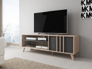 TV-Meubel Mira - Grijs - Licht eiken - 150 cm - ACTIE