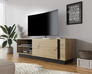 TV-Meubel Ashley - Eiken - Grijs - 138 cm