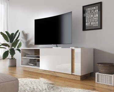 TV-Meubel Ashley - Wit - Eiken - 138 cm