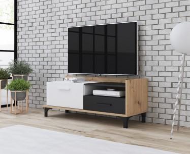 TV-Meubel Bust - Eiken - Wit - Zwart - 125 cm - ACTIE