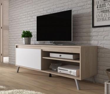 TV-Meubel Danon - Wit - Licht eiken - 138 cm