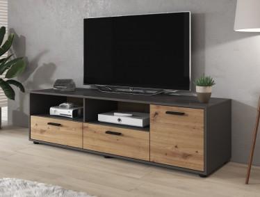 TV-Meubel Pinto - Eiken - Grijs - 160 cm - ACTIE