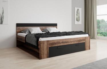 Tweepersoonsbed Brown - Zwart - Eiken - 160x200 cm