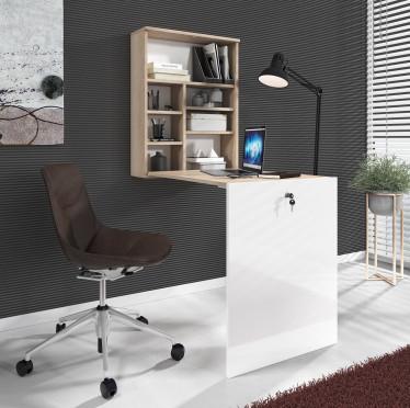 Bureau Hercules - Licht eiken - Wit - Uitklapbaar