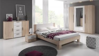 Slaapkamer Victor 160 - Licht eiken - Wit - Groot - ACTIE
