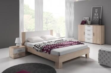 Slaapkamer Victor 160 - Licht eiken - Wit - Klein