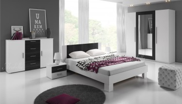 Slaapkamer Victor 160 - Wit - Zwart - Groot