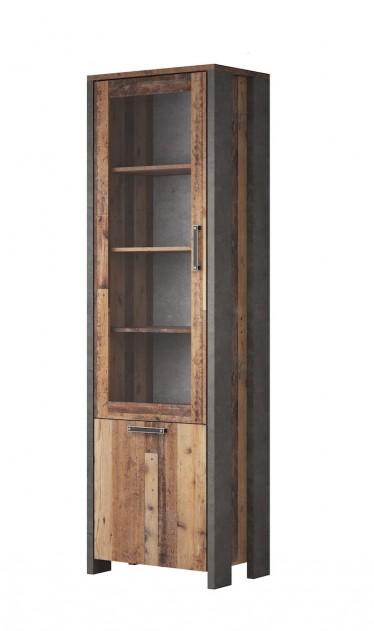 Vitrinekast Cade - Eiken - Grijs - 62 cm