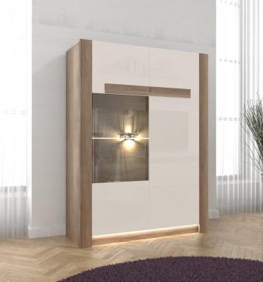 Vitrinekast Demo - Eiken - Wit - 95 cm
