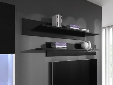 Wandplank Flame - Zwart - Set van 2