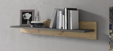 Wandplank Xara - Eiken - Grijs - 137 cm - ACTIE